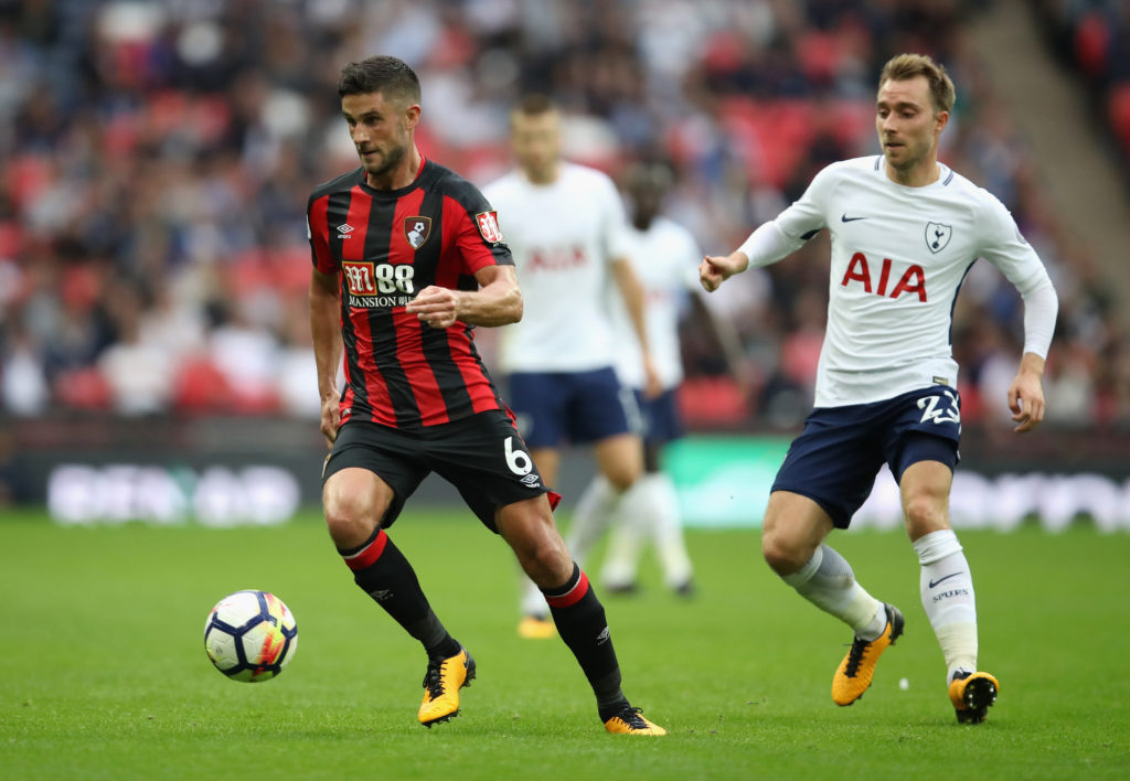LONDON, ENGLAND - OCTOBER 14:  Andrew Surman of AFC Bournemouth evades Christian Eriksen of Tottenham Hotspur during the Premier League match between Tottenham Hotspur and AFC Bournemouth at Wembley Stadium on October 14, 2017 in London, England.  (Photo by Julian Finney/Getty Images)